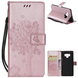 Embossing Butterfly Tree Leather Wallet Case for Samsung Galaxy Note9 - Rose Pink