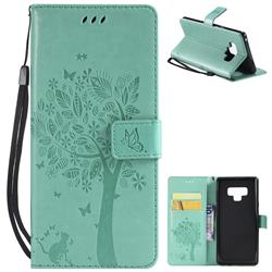 Embossing Butterfly Tree Leather Wallet Case for Samsung Galaxy Note9 - Cyan