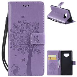 Embossing Butterfly Tree Leather Wallet Case for Samsung Galaxy Note9 - Violet