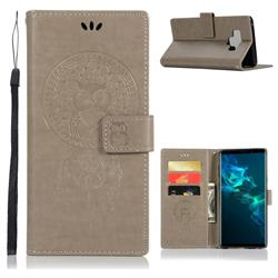 Intricate Embossing Owl Campanula Leather Wallet Case for Samsung Galaxy Note9 - Grey