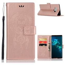 Intricate Embossing Owl Campanula Leather Wallet Case for Samsung Galaxy Note9 - Rose Gold