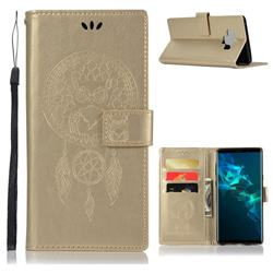 Intricate Embossing Owl Campanula Leather Wallet Case for Samsung Galaxy Note9 - Champagne