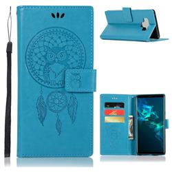 Intricate Embossing Owl Campanula Leather Wallet Case for Samsung Galaxy Note9 - Blue