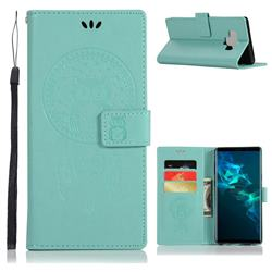 Intricate Embossing Owl Campanula Leather Wallet Case for Samsung Galaxy Note9 - Green