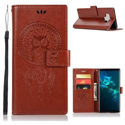 Intricate Embossing Owl Campanula Leather Wallet Case for Samsung Galaxy Note9 - Brown