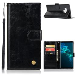Luxury Retro Leather Wallet Case for Samsung Galaxy Note9 - Black