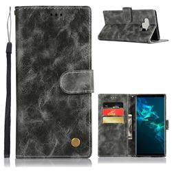 Luxury Retro Leather Wallet Case for Samsung Galaxy Note9 - Gray