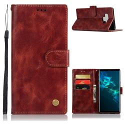 Luxury Retro Leather Wallet Case for Samsung Galaxy Note9 - Wine Red