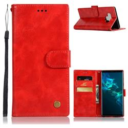 Luxury Retro Leather Wallet Case for Samsung Galaxy Note9 - Red