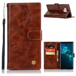 Luxury Retro Leather Wallet Case for Samsung Galaxy Note9 - Brown