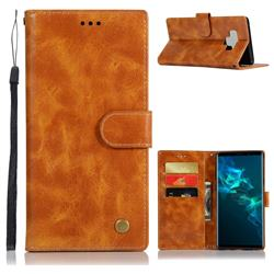 Luxury Retro Leather Wallet Case for Samsung Galaxy Note9 - Golden