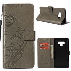 Embossing Butterfly Flower Leather Wallet Case for Samsung Galaxy Note9 - Grey