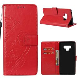 Embossing Butterfly Flower Leather Wallet Case for Samsung Galaxy Note9 - Red