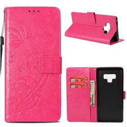 Embossing Butterfly Flower Leather Wallet Case for Samsung Galaxy Note9 - Rose
