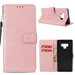 Embossing Butterfly Flower Leather Wallet Case for Samsung Galaxy Note9 - Pink