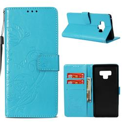 Embossing Butterfly Flower Leather Wallet Case for Samsung Galaxy Note9 - Blue