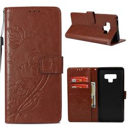 Embossing Butterfly Flower Leather Wallet Case for Samsung Galaxy Note9 - Brown
