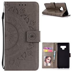 Intricate Embossing Datura Leather Wallet Case for Samsung Galaxy Note9 - Gray