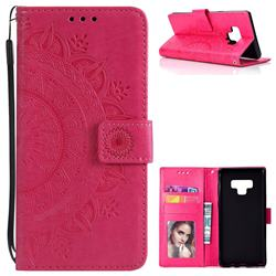 Intricate Embossing Datura Leather Wallet Case for Samsung Galaxy Note9 - Rose Red