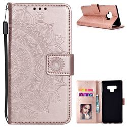 Intricate Embossing Datura Leather Wallet Case for Samsung Galaxy Note9 - Rose Gold