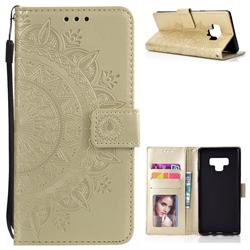 Intricate Embossing Datura Leather Wallet Case for Samsung Galaxy Note9 - Golden