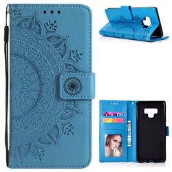 Intricate Embossing Datura Leather Wallet Case for Samsung Galaxy Note9 - Blue