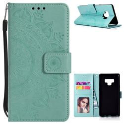 Intricate Embossing Datura Leather Wallet Case for Samsung Galaxy Note9 - Mint Green