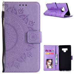 Intricate Embossing Datura Leather Wallet Case for Samsung Galaxy Note9 - Purple