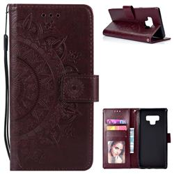 Intricate Embossing Datura Leather Wallet Case for Samsung Galaxy Note9 - Brown