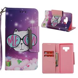 Glasses Cat Big Metal Buckle PU Leather Wallet Phone Case for Samsung Galaxy Note9
