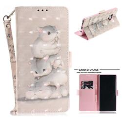 Three Squirrels 3D Painted Leather Wallet Phone Case for Samsung Galaxy Note9