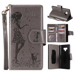 Embossing Cat Girl 9 Card Leather Wallet Case for Samsung Galaxy Note9 - Gray