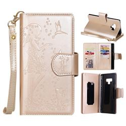 Embossing Cat Girl 9 Card Leather Wallet Case for Samsung Galaxy Note9 - Gold