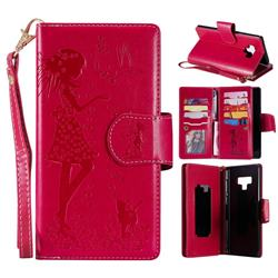 Embossing Cat Girl 9 Card Leather Wallet Case for Samsung Galaxy Note9 - Red