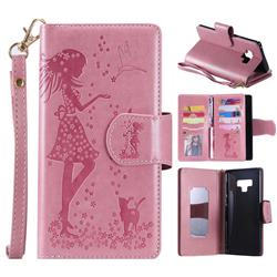 Embossing Cat Girl 9 Card Leather Wallet Case for Samsung Galaxy Note9 - Pink
