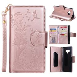 Embossing Cat Girl 9 Card Leather Wallet Case for Samsung Galaxy Note9 - Rose Gold