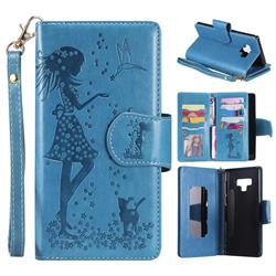 Embossing Cat Girl 9 Card Leather Wallet Case for Samsung Galaxy Note9 - Blue