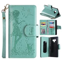 Embossing Cat Girl 9 Card Leather Wallet Case for Samsung Galaxy Note9 - Green