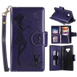 Embossing Cat Girl 9 Card Leather Wallet Case for Samsung Galaxy Note9 - Purple