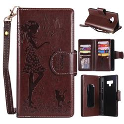 Embossing Cat Girl 9 Card Leather Wallet Case for Samsung Galaxy Note9 - Brown