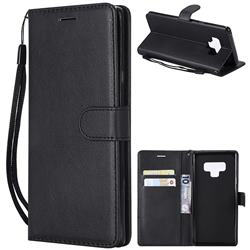 Retro Greek Classic Smooth PU Leather Wallet Phone Case for Samsung Galaxy Note9 - Black