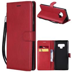 Retro Greek Classic Smooth PU Leather Wallet Phone Case for Samsung Galaxy Note9 - Red