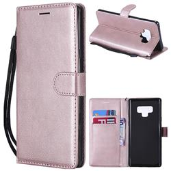 Retro Greek Classic Smooth PU Leather Wallet Phone Case for Samsung Galaxy Note9 - Rose Gold