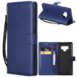 Retro Greek Classic Smooth PU Leather Wallet Phone Case for Samsung Galaxy Note9 - Blue