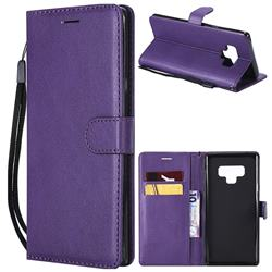Retro Greek Classic Smooth PU Leather Wallet Phone Case for Samsung Galaxy Note9 - Purple