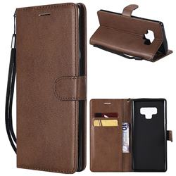 Retro Greek Classic Smooth PU Leather Wallet Phone Case for Samsung Galaxy Note9 - Brown
