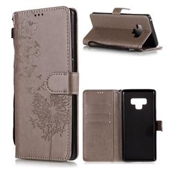 Intricate Embossing Dandelion Butterfly Leather Wallet Case for Samsung Galaxy Note9 - Gray