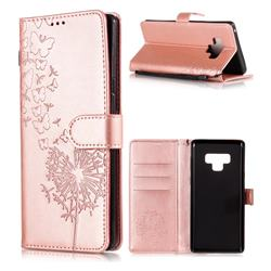 Intricate Embossing Dandelion Butterfly Leather Wallet Case for Samsung Galaxy Note9 - Rose Gold