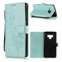 Intricate Embossing Dandelion Butterfly Leather Wallet Case for Samsung Galaxy Note9 - Green