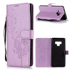 Intricate Embossing Dandelion Butterfly Leather Wallet Case for Samsung Galaxy Note9 - Purple